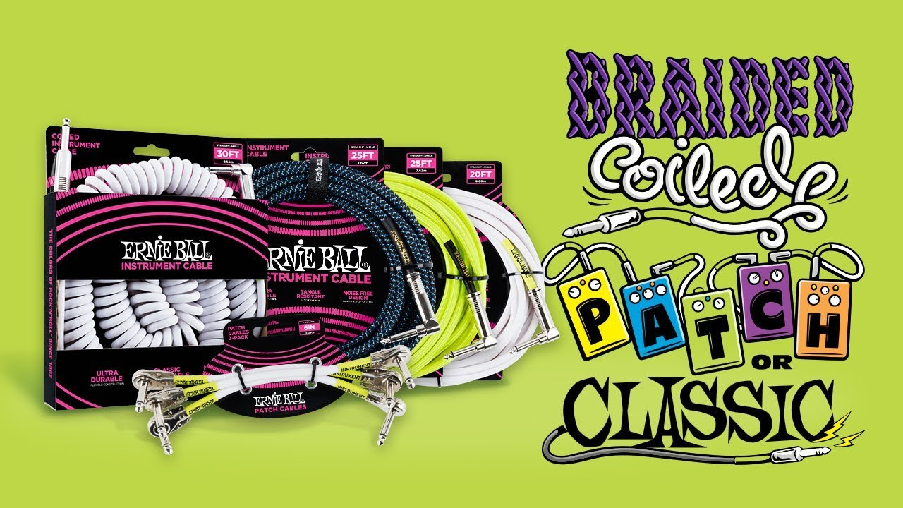 "Ernie Ball 6/"" Flat Angle Three Pack Guitar Patch Cables Black P06059"