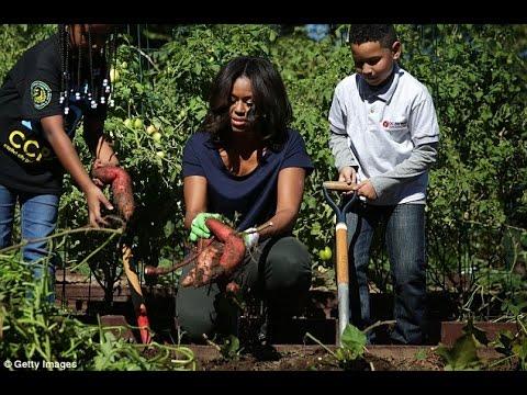 Michelle Obama Is Joined Elementary School Children In The White House Vegetable Garden Youtube