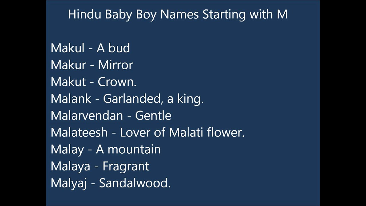 Indian Hindu Baby Boy Names M