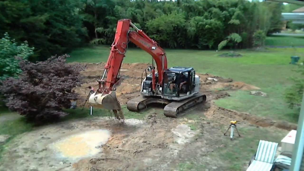 time lapse digging hole for in ground pool youtube. Black Bedroom Furniture Sets. Home Design Ideas