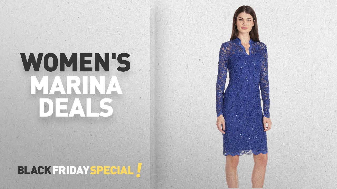 8418a149 Cyber Monday Women's Marina Deals: Marina Women's Long-Sleeve Lace Sequin  Dress
