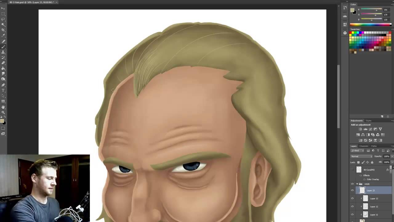 Painting hair in photoshop youtube for Draw with jazza mural