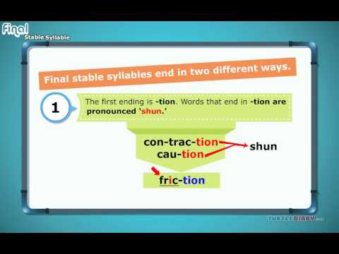 Final Stable Syllable | Turtlediary - YouTube