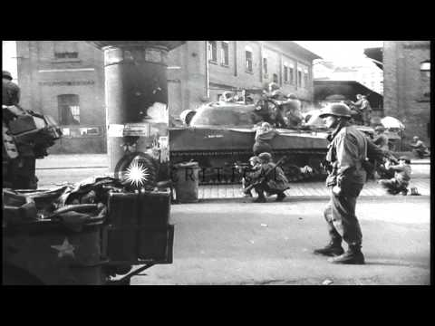 United States Infantry troops patrol in streets of Leipzig, Germany. HD Stock Footage