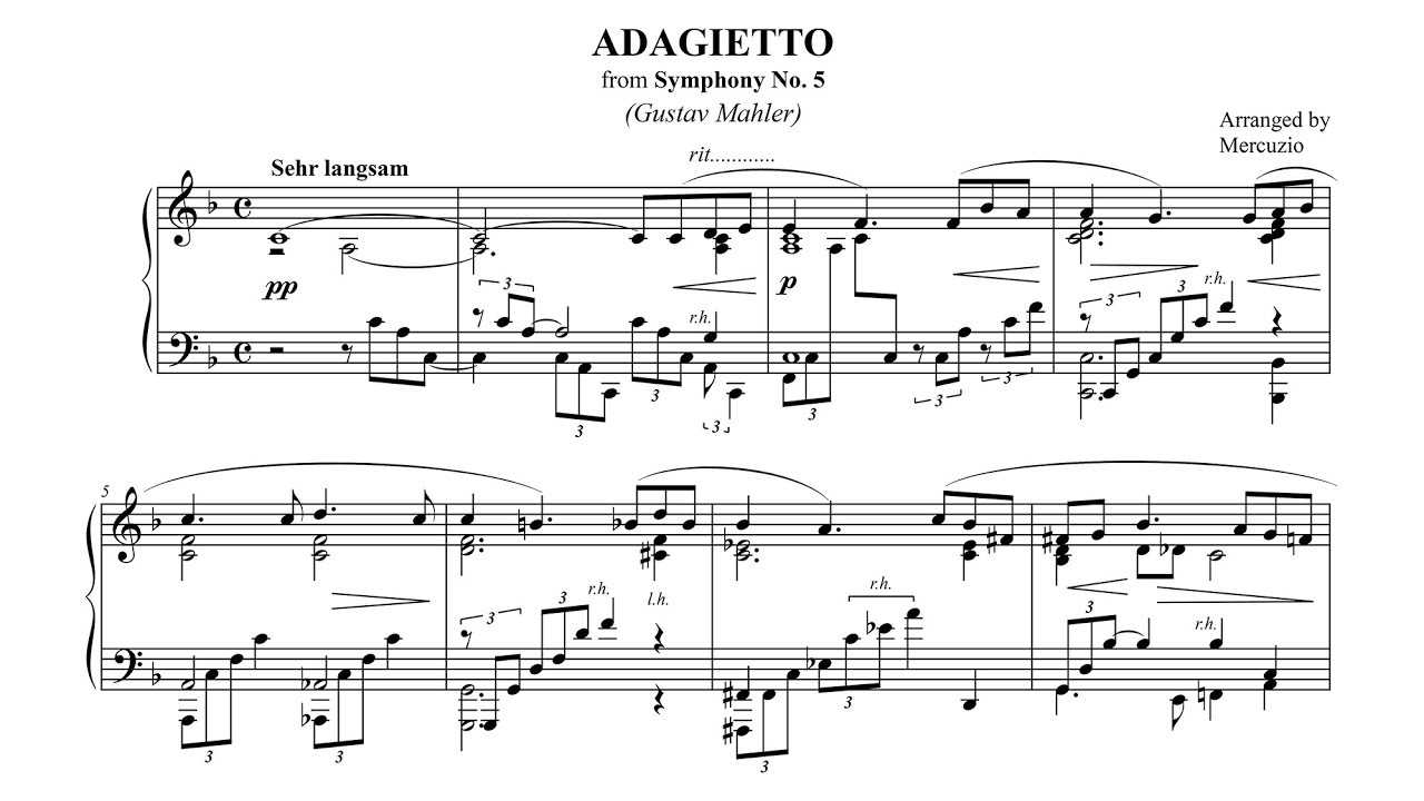 Mahler Adagietto 5th Symphony Piano Solo Arr Mercuzio P Barton Feurich Piano