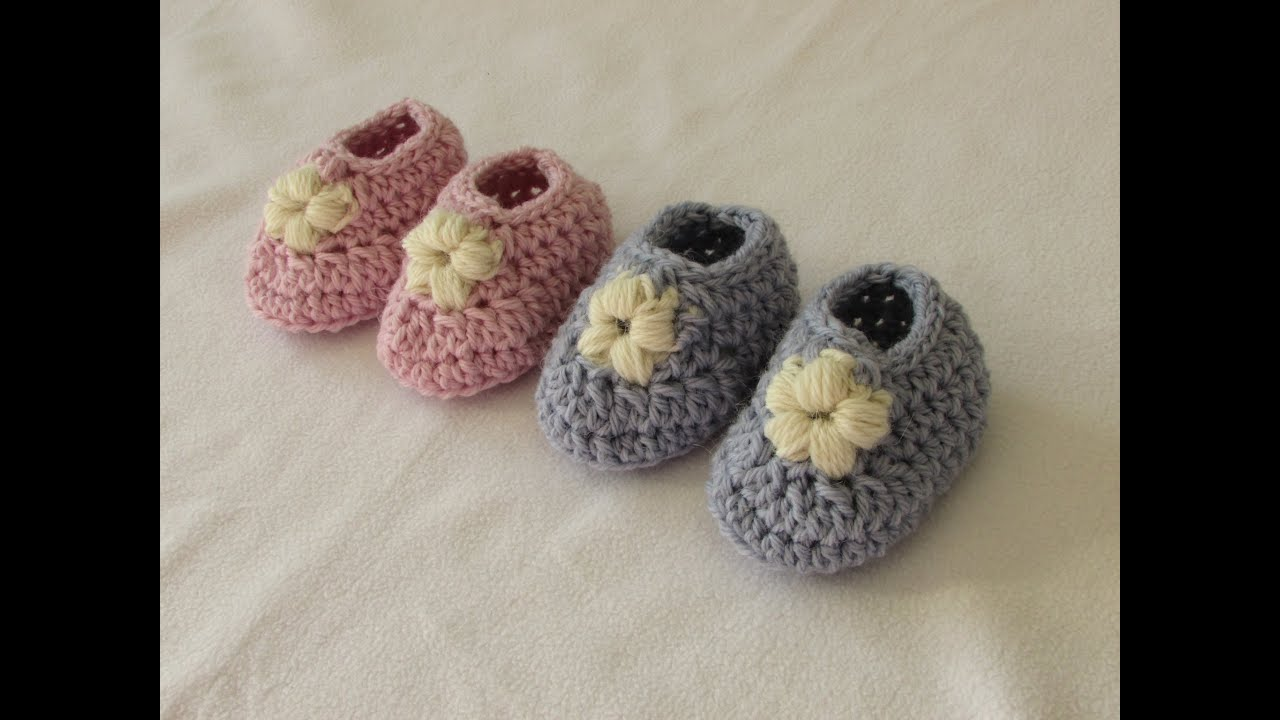 How to crochet puff stitch flower baby booties / shoes ...