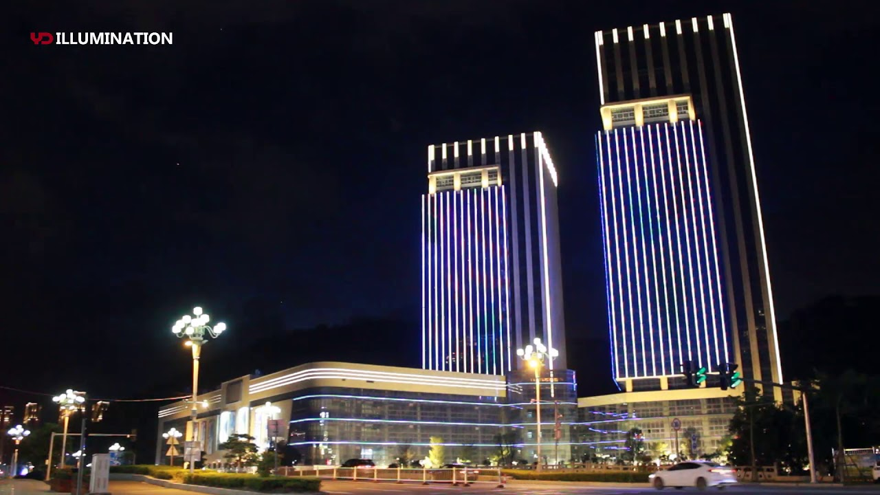 Twin Towers Building Facade Exterior Lighting Decoration By Dmx Rgb Led Dot Light Pixel
