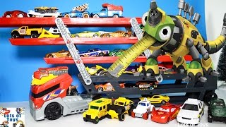 Giant Truck Hauler and 50 Matchbox Cars, Hot Wheels Semi Trucks, Dinotrux Toys