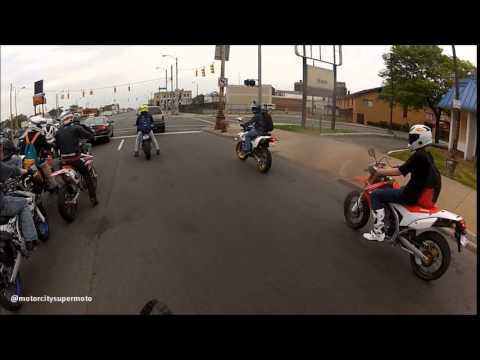 "Motor City Supermoto ""Dirtbikes in Detroit"" Group Ride 5/24/15"