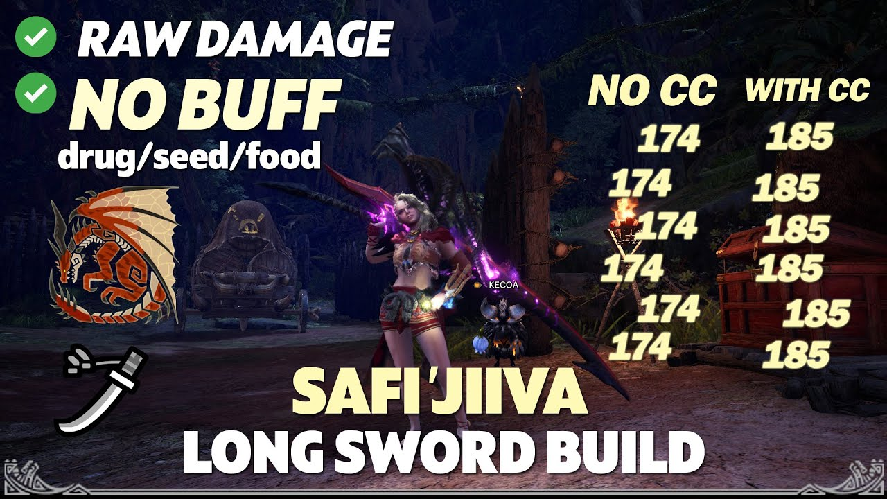 Mhw Iceborne Long Sword Safi Jiiva Build No Buff High Damage