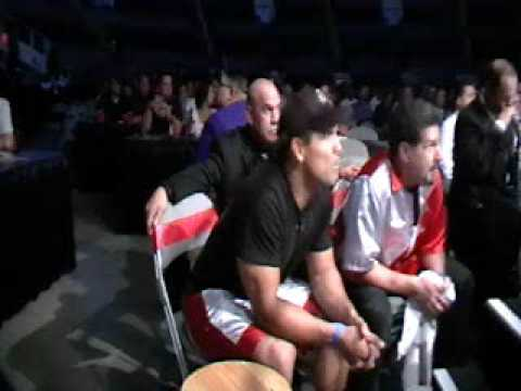 MMA legend Frank Shamrock works with boxer Clint Coronel of San Jose at the Tank