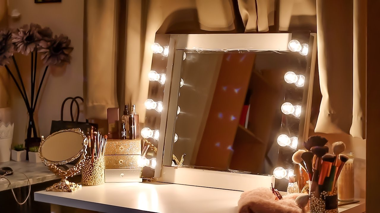 diy series how to make a vanity mirror with lights youtube