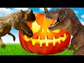 Dinosaurs - Triceratops or treat. Halloween in the Dinosaurs' valley t-rex toys