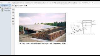 Flat Plate Solar Collector Air Dryer | Performance Model | Matlab | Simulink