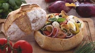 Big Salad In Bread Bowl - Summer Recipe