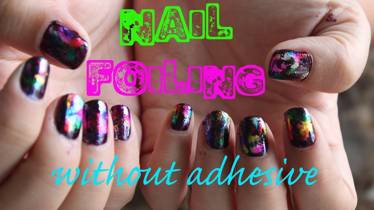 Nail Foiling without adhesive - YouTube