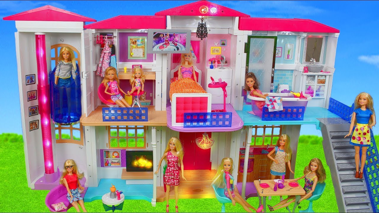 Barbie Dolls Hello Dreamhouse Dollhouse W Kitchen Bathroom