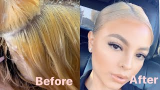 Bleaching my hair in Cosmo School/ Wella T14 toner & Wella T18/ Root touch up