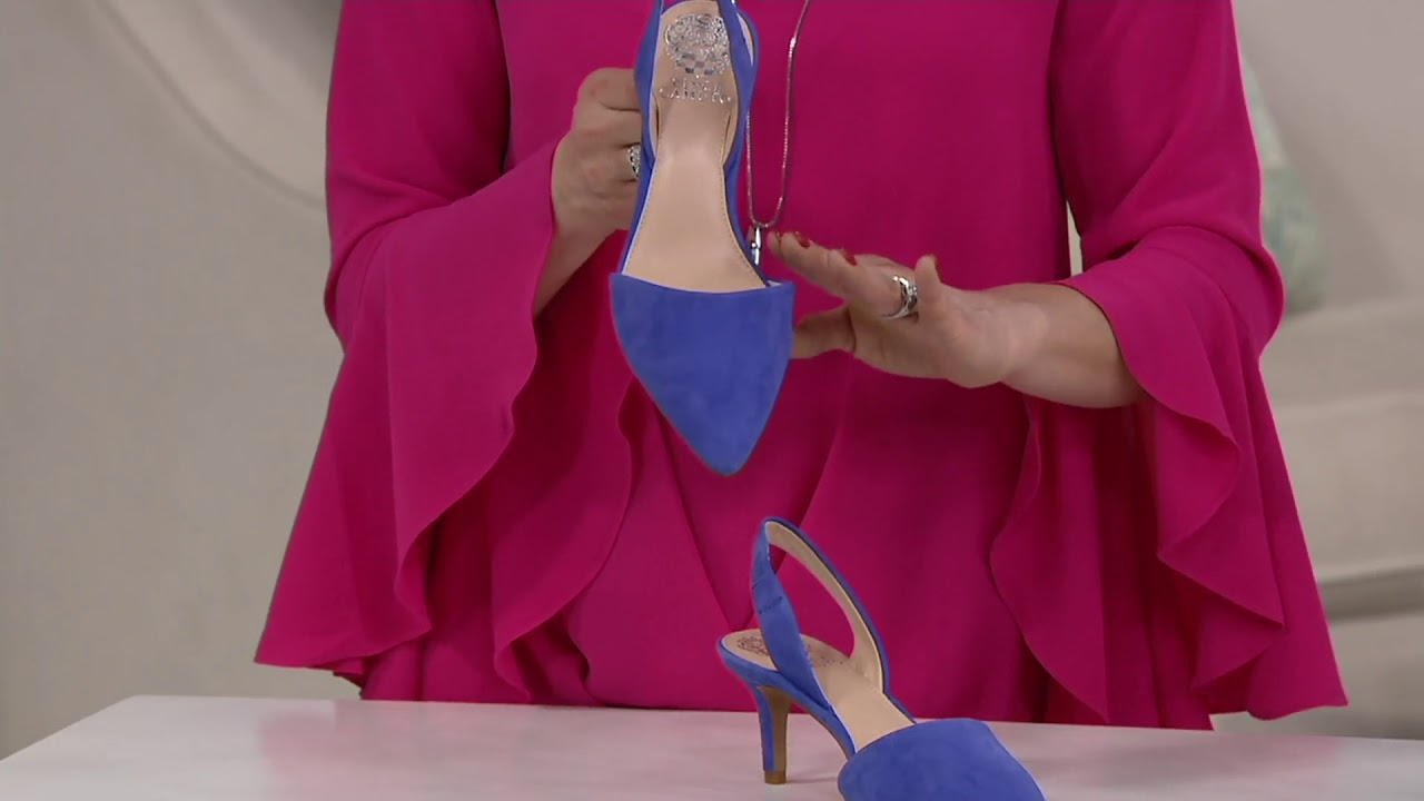 c8c2bda2eaf2 Vince Camuto Leather or Suede Slingback Pumps - Kolissa on QVC - YouTube