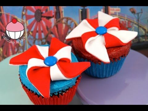 Make Pinwheels (Windmills) for Independence Day Cupcakes - A Cupcake Addiction How To Tutorial