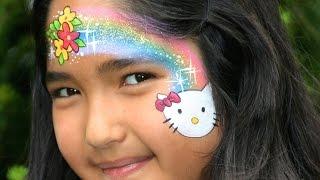 Repeat youtube video Hello Kitty Kinderschminken Anleitung mit Regenbogen, Blumen und Glitzer!