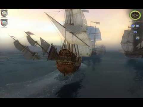 Age Of Pirates 2 - 4 Spanish Ships Vs. My Corvette + The Biggest Class 1 'Soleil Royal'