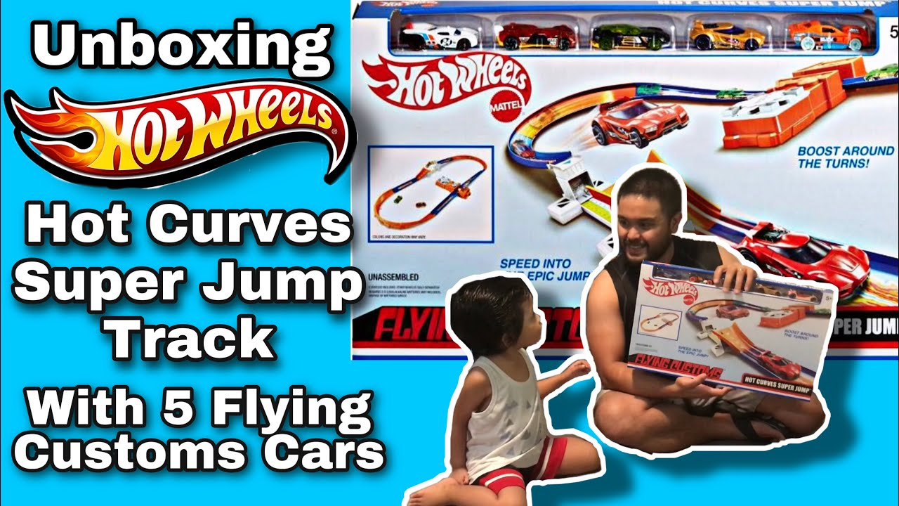 HOTWHEELS HOT CURVES SUPER JUMP  TRACK WITH FLYING CUSTOMS | UNBOXING | Elaine Cuyos
