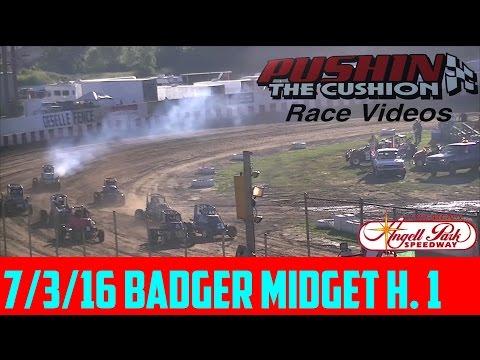 Angell Park Speedway 7/3/16 Badger Midget Heat 1