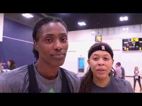 Photobombs with Seimone Augustus and Sylvia Fowles