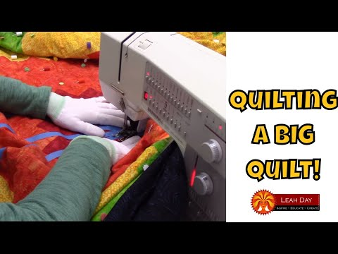 How to Quilt a BIG Log Cabin Quilt with Walking Foot Quilting