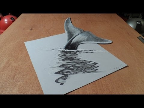 Art 3D Drawing Blue Whale, How to Draw 3D Whale?