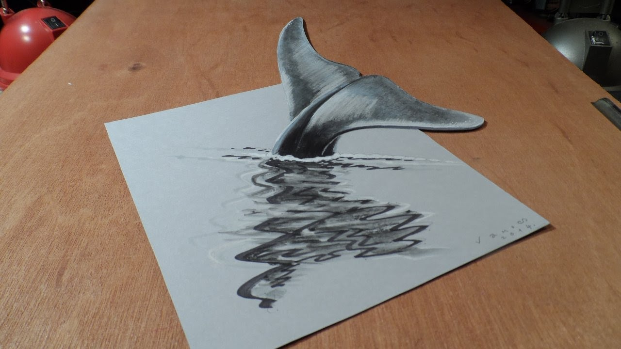 Art 3d Drawing Blue Whale How To Draw 3d Whale Youtube