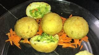 Palak (Spinach) Cheese Stuffed Rice Balls - Quick Evening Snack Recipe/ Gluten Free
