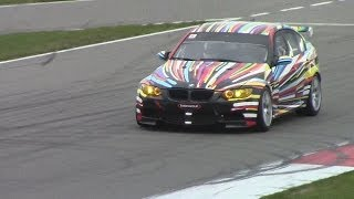 bmw m3 e90 gt2 accelerations and downshifts on the track nice v8 sounds