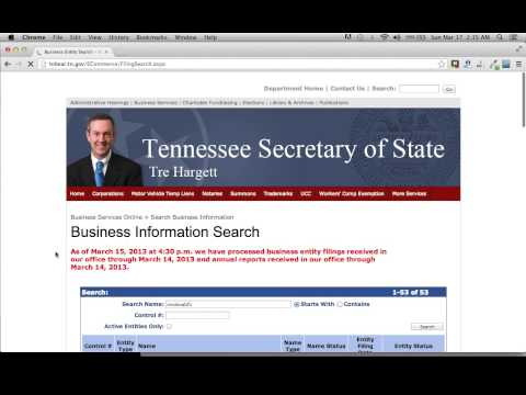Tennessee Secretary Of State Business Search