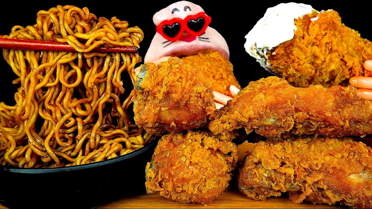 ASMR MUKBANG :) Crispy Chicken & Black Bean Noodles Eating Show!