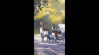 "Advancing with Watercolor: Light against Dark ""A Very Hansom Cab"""