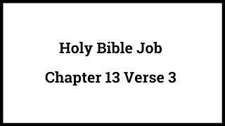 Holy Bible Job 13:3