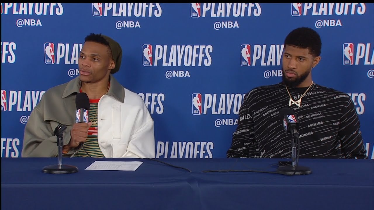 025a8a30011 Russell Westbrook & Paul George Postgame Interview - Game 4 | Blazers vs  Thunder | 2019 NBA Playoffs