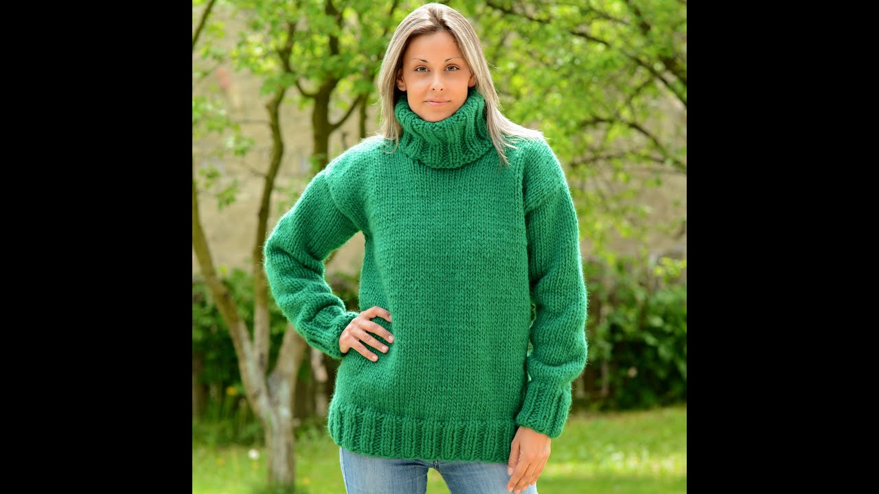 Fantastic Green Hand knitted 100 % wool turtleneck sweater by EXTRAVAGANTZA  RM01