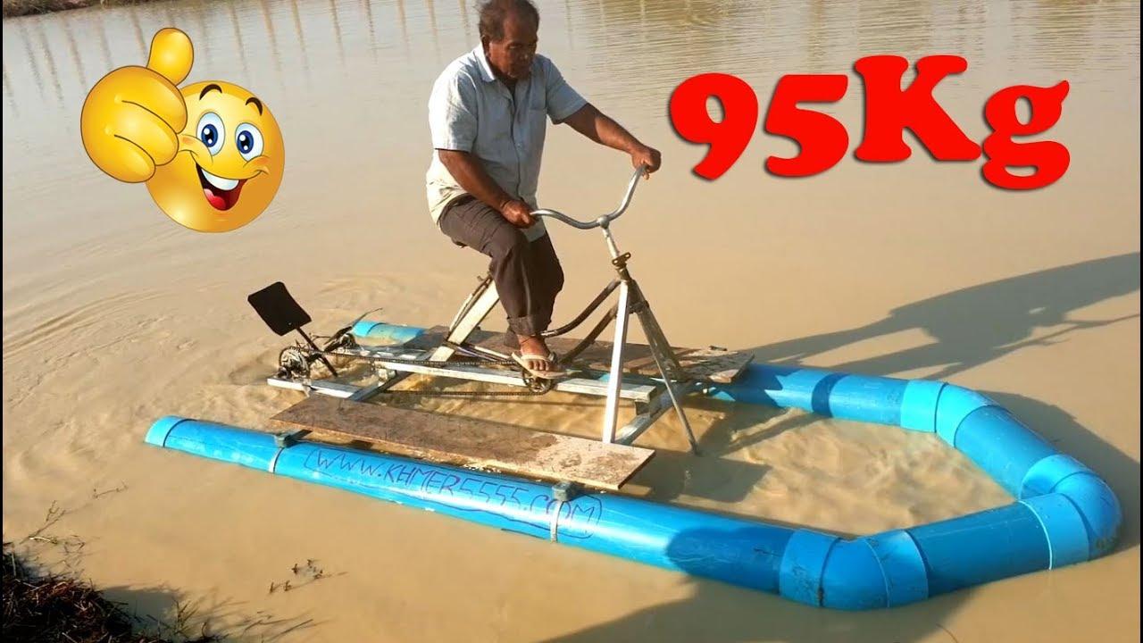 DIY Water Bike - PVC boat homemade invention, best destruction