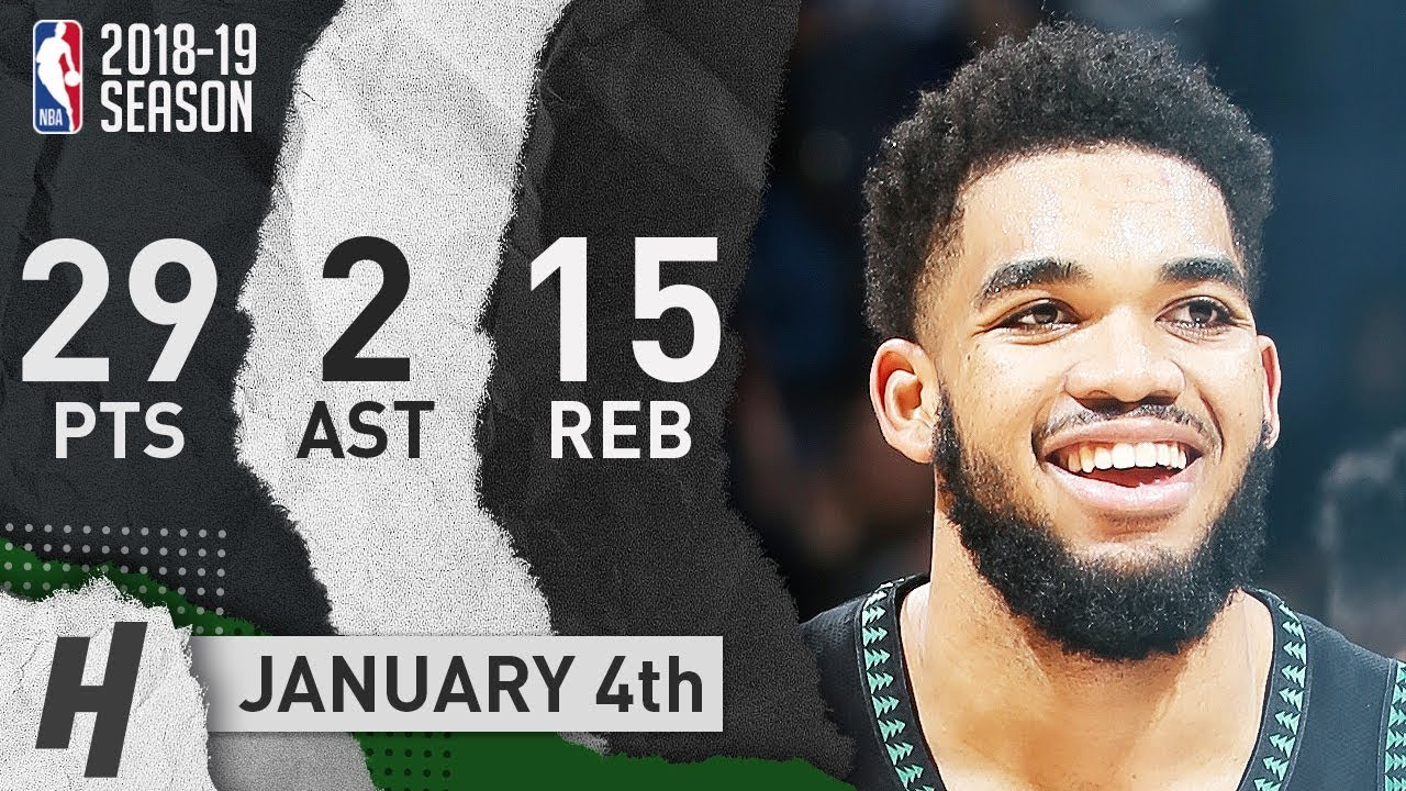 Karl-Anthony Towns Full Highlights Timberwolves vs Magic 2019.01.04 - 29 Pts, 2 Ast, 15 Rebounds!