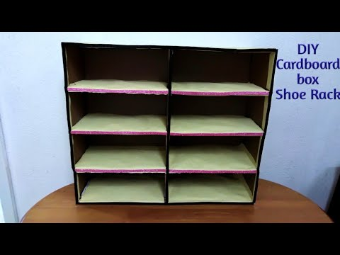 DIY   How to make  Shoe Rack with Cardboard boxes