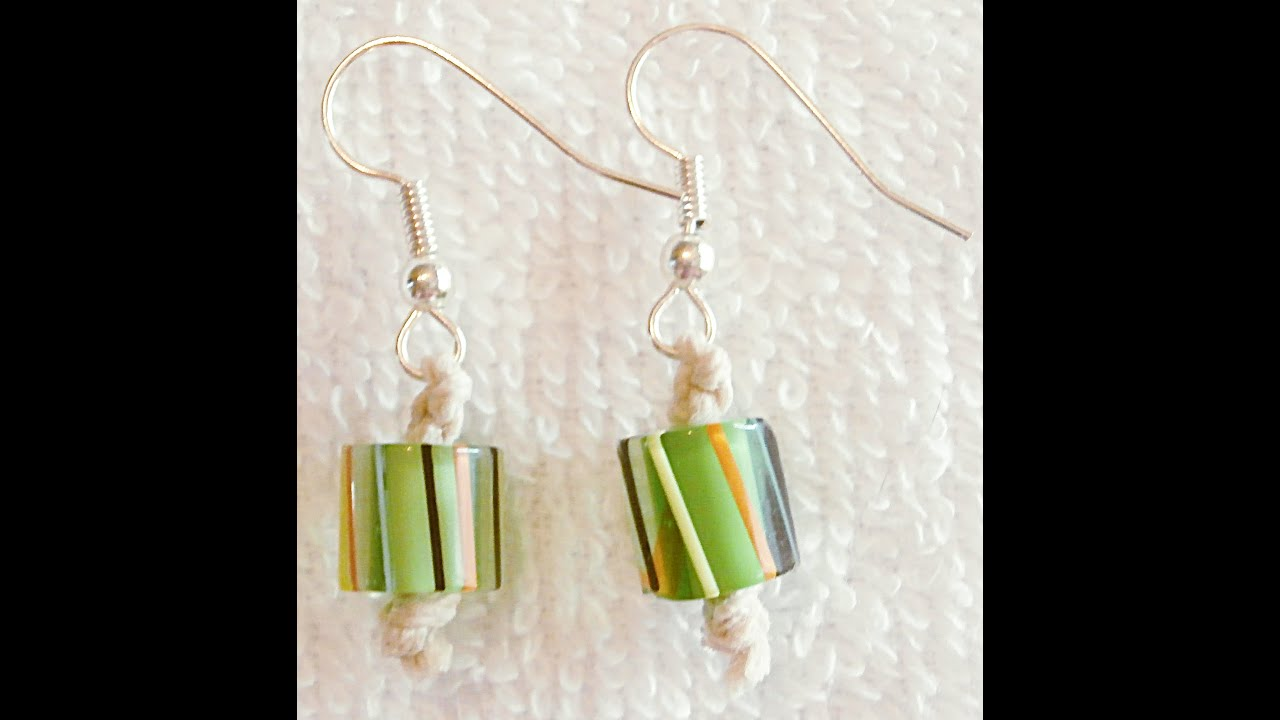 Diy How To Make Hemp Macrame Earrings With Green Beads