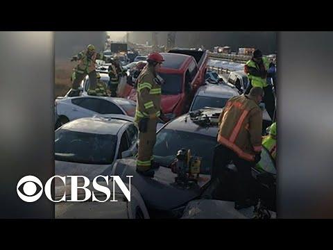 Dozens injured in 69-car pileup on Virginia highway