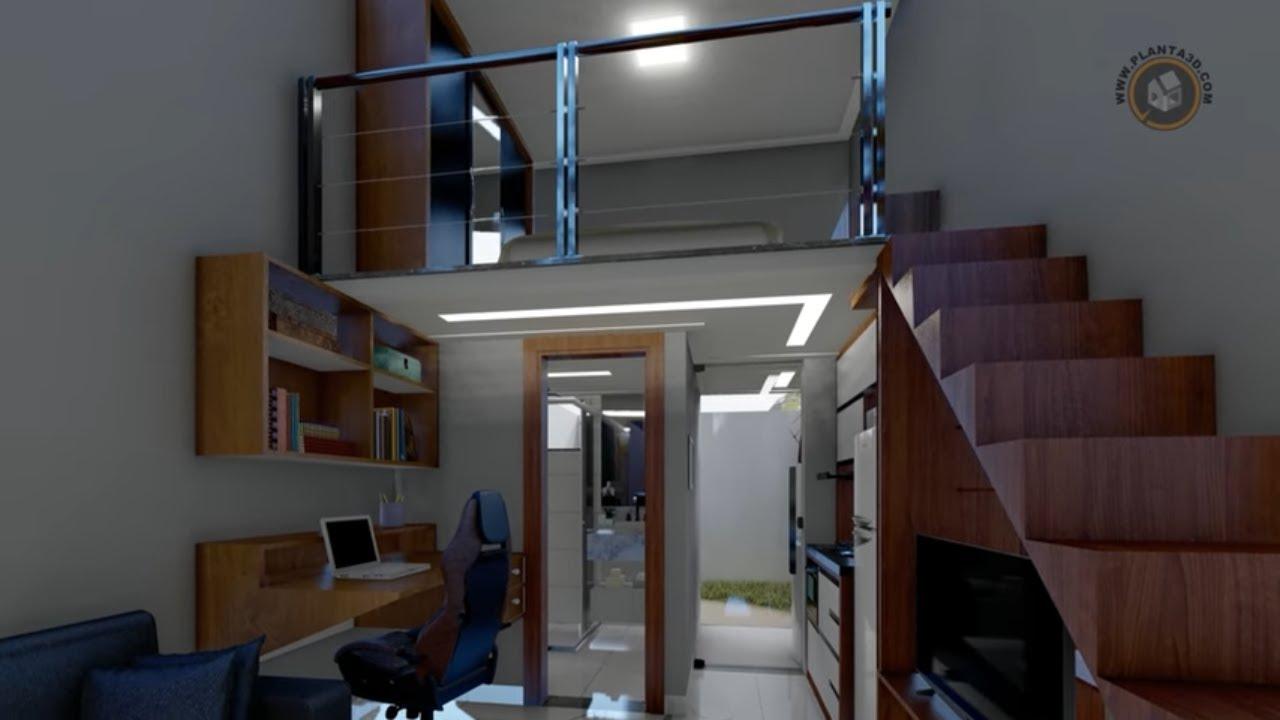 Projeto 3D kitnet com mezanino em bloco adaptável em vários tamanhos de terrenos, muito confortável!