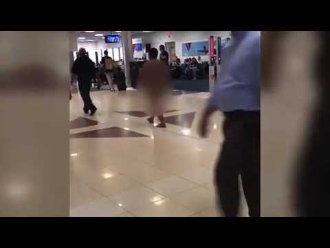 Woman Walks Topless At Miami Airport Hot in Florida in