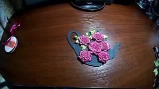 плоская роза из атласной ленты