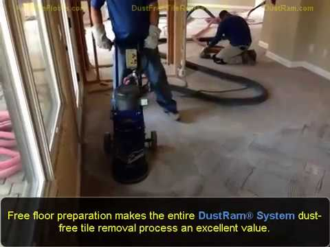 Thinset Removal Dust Free Using The Patented DustRam System An - Cleaning dust after tile removal