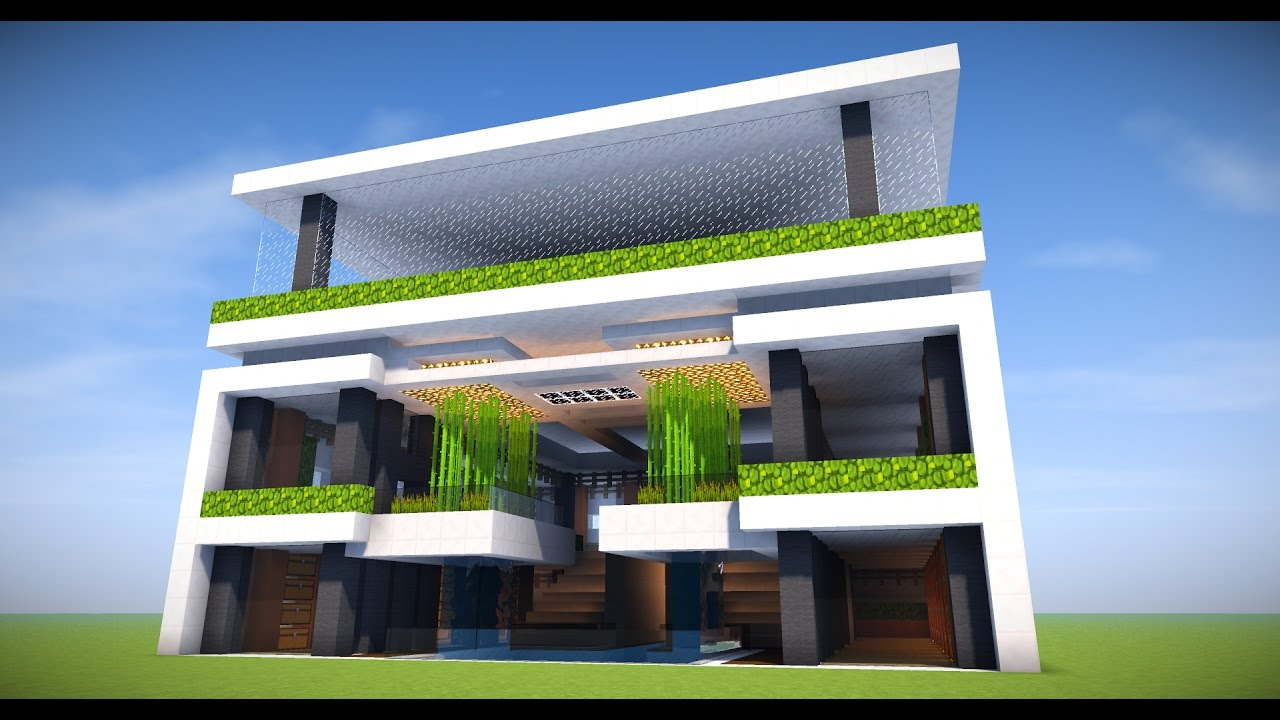 Big survival modern apartment base minecraft tutorial for Big modern house tutorial